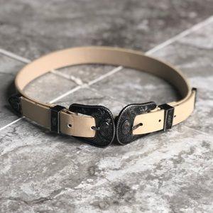 Double buckle Western cream belt